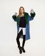 4365/206 Zara Denim Coat with Faux Fur Collar - Size S / Small