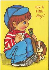 VINTAGE REDHEAD BOY CHILD BASEBALL BAT BALL BEAGLE DOG SPORTS BIRTHDAY CODE CARD