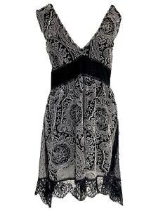 Designer Ermanno Scervino Black & White Embroidered Lace Dress It 44 UK 12- 14