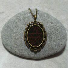 Necronomicon Pendant Necklace Jewelry Antique Bronze Black Red