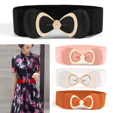 Bowknot Waist Belt Elastic Waistband Dress Stretch Black Red Buckle Women Ladies