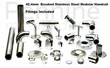 STAINLESS STEEL HANDRAIL SYSTEM 42.4mm Ø Brushed Finish Excellent Quality Trade£