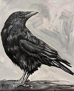 MARINA REHRMANN Original Impressionism Handpainted BIRD CROW RAVEN Art 🧿🧿🧿