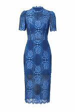 BRAND NEW ALEXIS DELILA BLUE LACE COCKTAIL EVENING PARTY MIDI DRESS M NWT