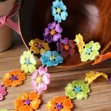 Flower Applique Embroidered Lace Trim Ribbon Hairband Dress Sewing Craft 1yd