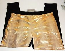 Sexy Junior Dance Leggings BLACK GOLD FOIL SNAKE PRINT SIZE SMALL NEW WITH TAGS