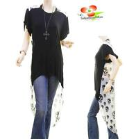 Celebrity Women Black Cool Gothic Faux Silk Chiffon Tunic Hi-Lo Shirt Top S M L