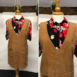 VINTAGE CORD PINAFORE DRESS SIZE 14 / OVERSIZED LIGHT BROWN 90s AUTUMN (pi18)