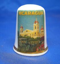 Birchcroft China Thimble -- Travel Poster Series - Nicaragua - Free Dome Box