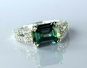 Green Diamond Solitaire Halo Men's Ring 5.99 Ct Emerald Cut Latest Collection