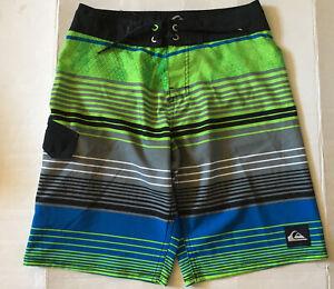 NWT Quiksilver Youth Boy Multicolor Stripes Swim Surf Boardshorts sz 10