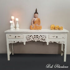 Balinese Hand Carved Sideboard Desk Whitewash Dresser Table 2 Drawer
