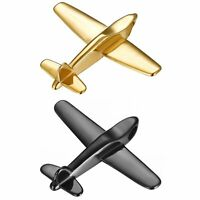 Polished Gold Black Stainless Steel Mens Airplane Model Pendant Necklace Chain