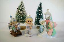 3 Precious Moments Christmas Ornaments Lamp Post 1999 Boy w/ Sled 2007 Tree 2008