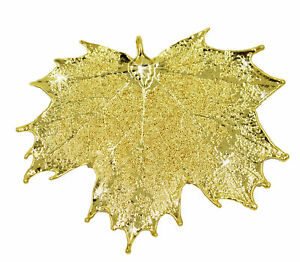 Zhannel Real Leaf PENDANT Sugar Maple in 24k Yellow gold New