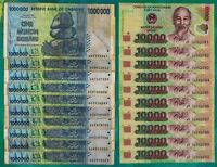 10 X 1 MILLION ZIMBABWE DOLLARS BANKNOTES + 10 X 10,000 VIETNAM DONG CURRENCY