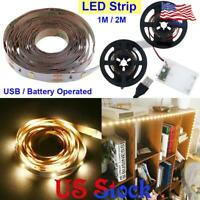 USB/Battery LED Strip Night Light Flexible Adhesive Tape Cabinet TV Background