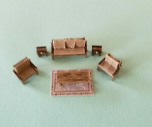 Dollhouse Miniature 1:144 Scale Country Style Living Room FULLY  ASSEMBLED w/RUG