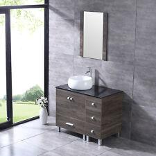 "36"" Bathroom Vanity White Round Ceramic Sink w/Mirror Modern Wood Cabinet Combo"