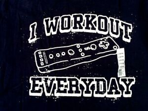 Funny Lazy Video Game Nintendo Wii I WORK OUT EVERY DAY Adult Navy Blue T SHIRT