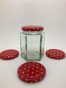 Hexagonal Glass Jam Jar 12oz - red spotty 63mm lids, preserves, candles, honey