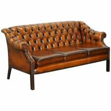 RESTORED LUTYEN'S VICEROY STYLE CHESTERFIELD BROWN LEATHER HAND DYED 3 SEAT SOFA