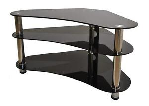 Curved Corner TV Stand Glass Table Unit Televisions 27 to 43 Inch Clear / Black