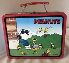 """Peanuts Tin Lunch Box Joe Cool And Woodstock 1998 Series #1 (7.75""""x6.25""""x3"""")"""