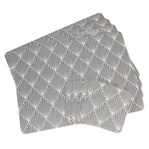Set of 4 Placemats & Coasters Table Place Settings Mats Grey Art Deco Geometric