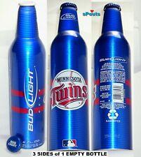 2008 MLB PRO BASEBALL CLUB MINNESOTA TWINS BUD LIGHT BEER ALUMINUM BOTTLE MN CAN