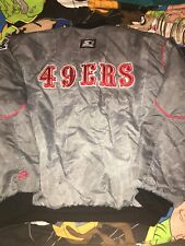 Vtg 90s SF 49ers Starter Gray Fade Jacket Old English Logo USA Made Bomber Men
