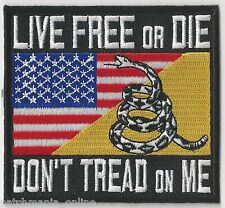 LIVE FREE or DIE/DON'T TREAD on ME - GADSDEN/AMERICAN FLAG - IRON / SEW ON PATCH