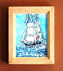 Miniature 2-piece Nautical Art - OOAK Dutch Seascape plus Rudder Design Clock