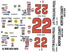#22 RICKY RUDD Norfolk County 1/64th HO Scale Slot Car Decal