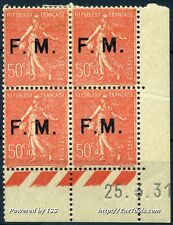 FRANCE SEMEUSE FM N° 6 COIN DATE DU 25/03/1931 NEUF * AVEC CHARNIÈRE COTE 85€