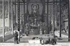 Antique print Choir japanese temple Tokyo Japan 1869 holzstich Tokio