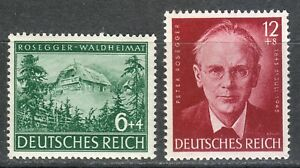 Germany 1943 MNH Mi 855-856 B241-B242 Peter Rosegger,Austrian writer **02
