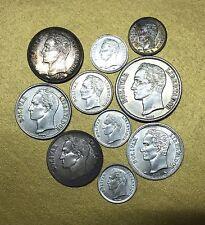2 BOLIVARES 1945 / 1 BOLIVAR 1954 / 1960 VENEZUELA - LOT de 10 MONNAIES ARGENT -
