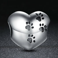 NEW Authentic 925 Sterling Silver European Charm Bead w Dog Pet Paw Print