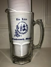 Glass Beer Pitcher (One Liter) from Frankenmuth Michigan - Never Used!
