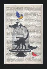 ART PRINT ON ANTIQUE BOOK PAGE UPCYCLED  CAT CAGE & BIRDS  Vintage Unique