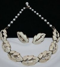 Vintage Gold Coro Pegasus Cream Enamel Open Leaf Necklace and Earring Set