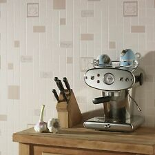 Contour Cafe Culture Kitchen Bathroom Beige Wallpaper