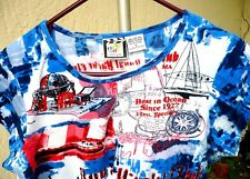 JULY 4 PATRIOTIC TAKE TWO NAUTICAL YACHT CLUB OLD SHIP SHIRT BLOUSE TOP WOMEN L