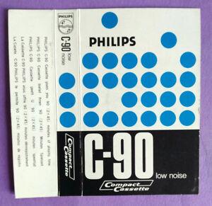 CUSTODIA INLAY MC Musicassetta PHILIPS C-90 c90 Compact Cassette Vintage USATA