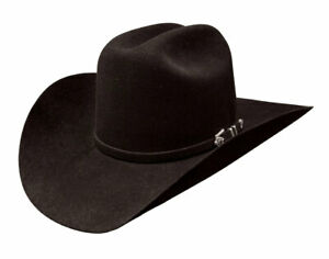 Stetson 4X Apache Black Buffalo Fur Felt Cowboy Western Hat - Size 7 1/2