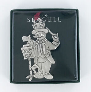 Seagull Pewter Musical Snowman Christmas Tree Ornament, Holiday Gift Boxed New