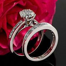 Bridal Ring Set 14K White Gold Amazing 1.50 Ct D/Vvs1 Round Diamond