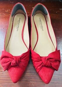 Christian Siriano Red Suede Bow Slip On Low Heels Closed Toe Shoes Women