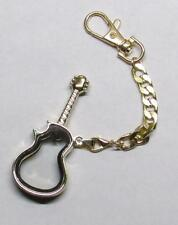 Floating Glass GUITAR Shaped Crab Claw GOLD Metal KEY CHAIN Ring Keychain NEW